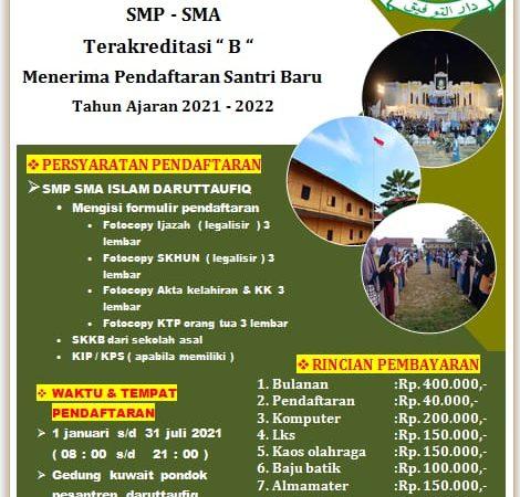 Pendaftaran Pesantren Daruttaufiq Tahun Pelajaran 2021 - 2022